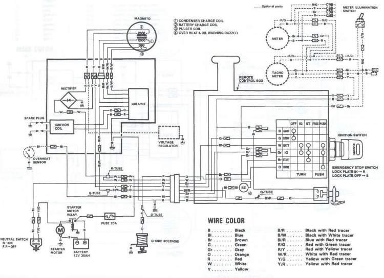Электрическая схема мотора Suzuki DT30 с дистанционным управлением (Suzuki DT30RS, Suzuki DT30RL) .
