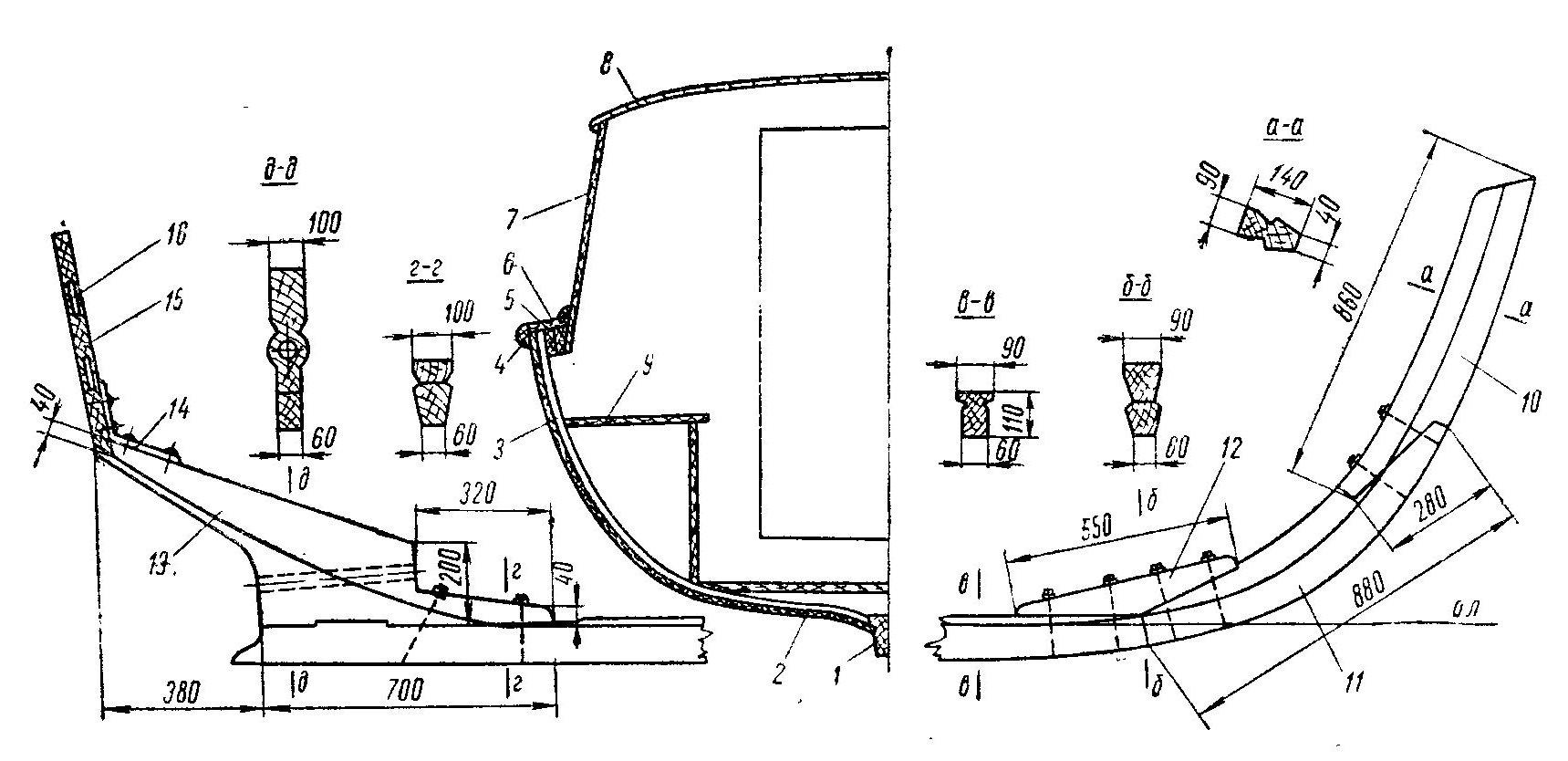 Каютный водоизмещающий деревянный катер