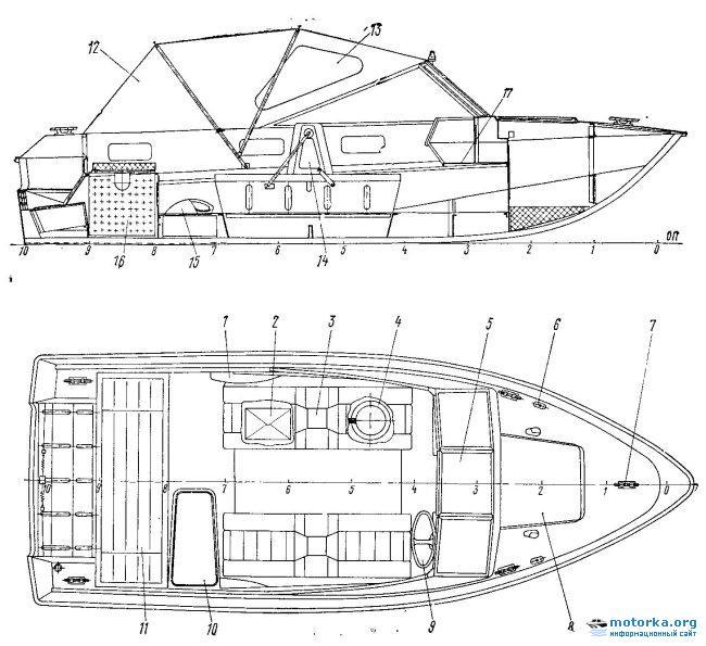 Общее расположение моторной лодки Крым-3