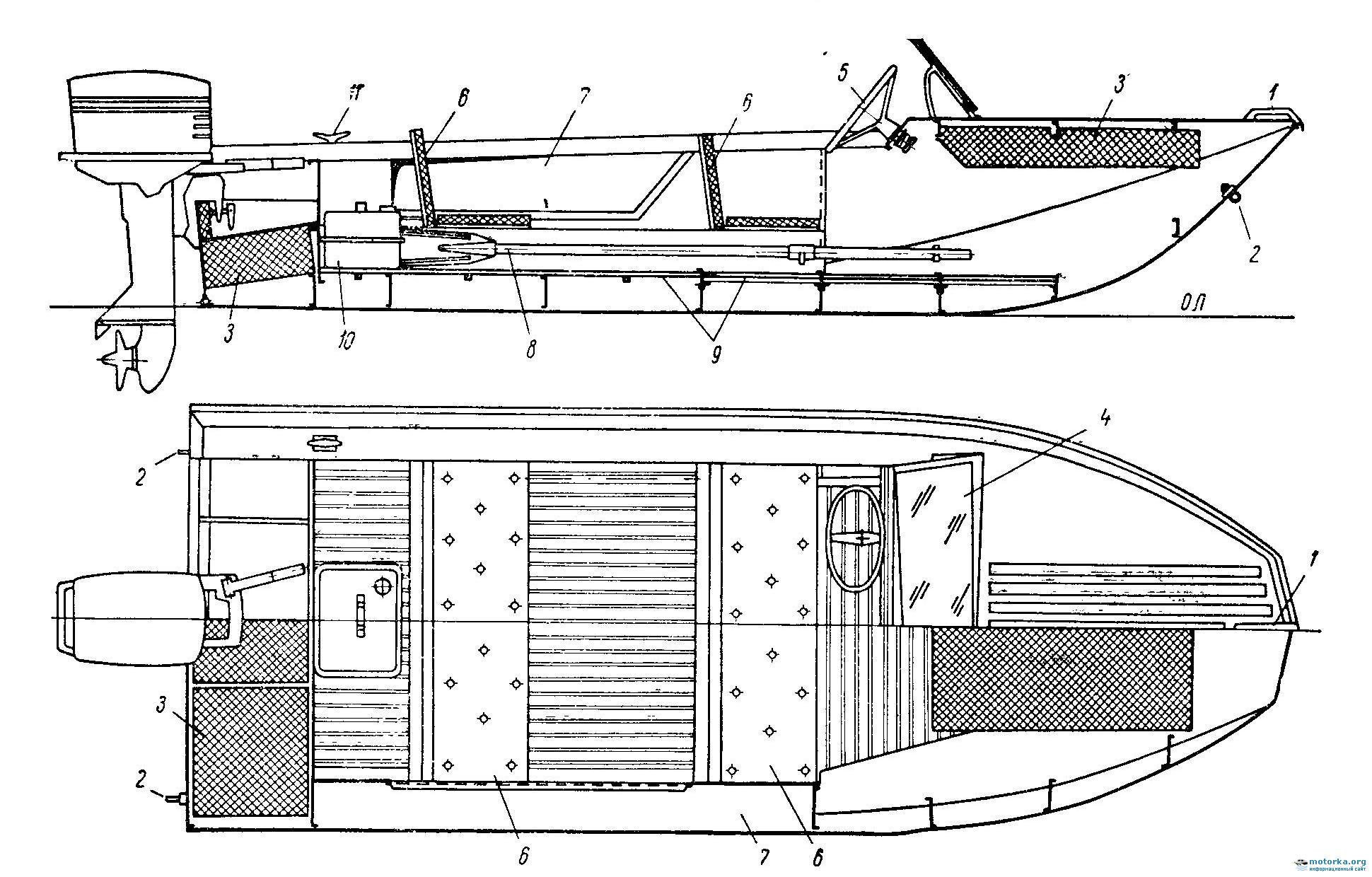 Общее расположение и оборудование моторной лодки Ока