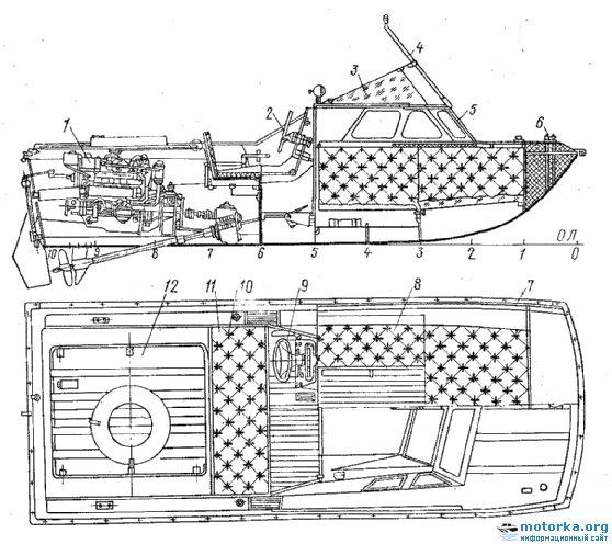 Общее расположение катера С-54