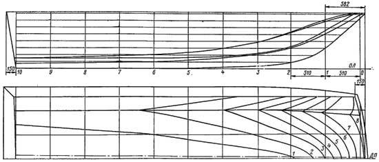 Теоретический чертеж катера-тримарана С-54