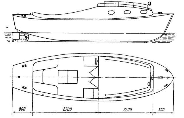 Общий вид и план лодки Помор