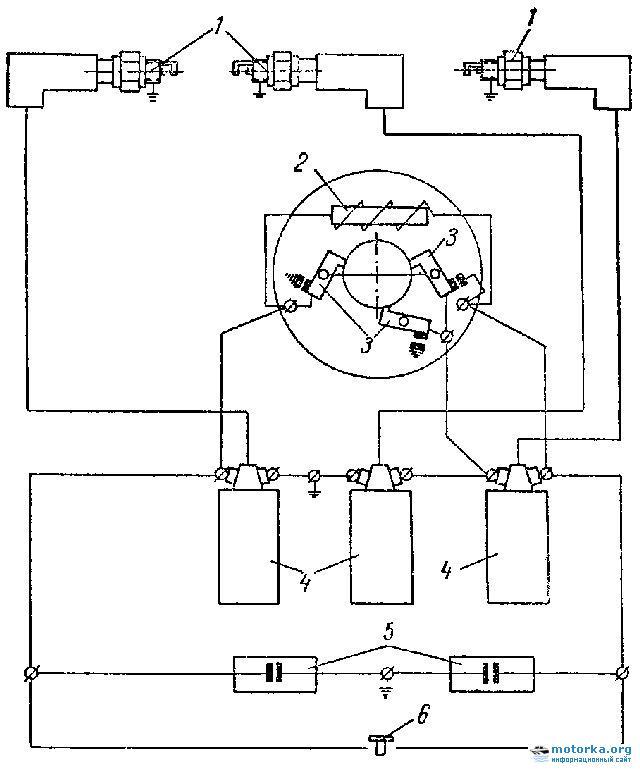 Схема  зажигания трехцилиндрового мотора Вихрь