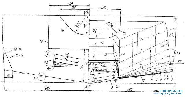 Теоретический чертеж лодки-прицепа Дон