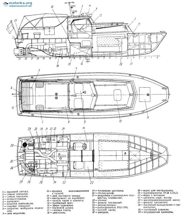 Схема общего расположения катера Аист