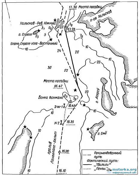 Схема посадки на мель танкеров Тбилиси и Пенза