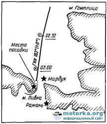 Схема посадки на мель теплохода «Николай Гоголь»