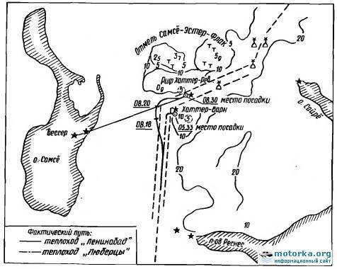 Схема посадки на мель танкеров Ленинабад и Люберцы