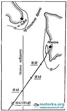 Схема посадки на мель теплохода «Профессор Николай Баранский»