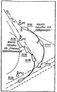 Схема посадок на мель пароходов «Степан Крашенинников» и «Североморск»