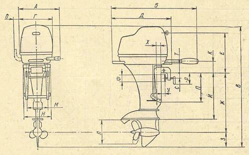 Габаритные и монтажные размеры подвесных моторов производимых в СССР