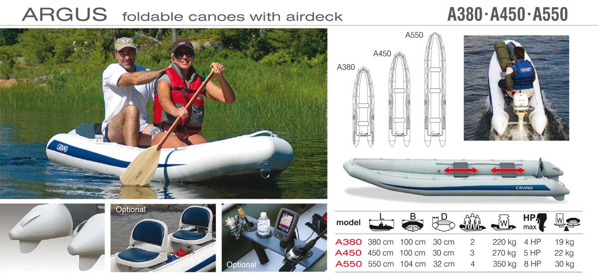 Grand Argus Canoes A380, A450, A550