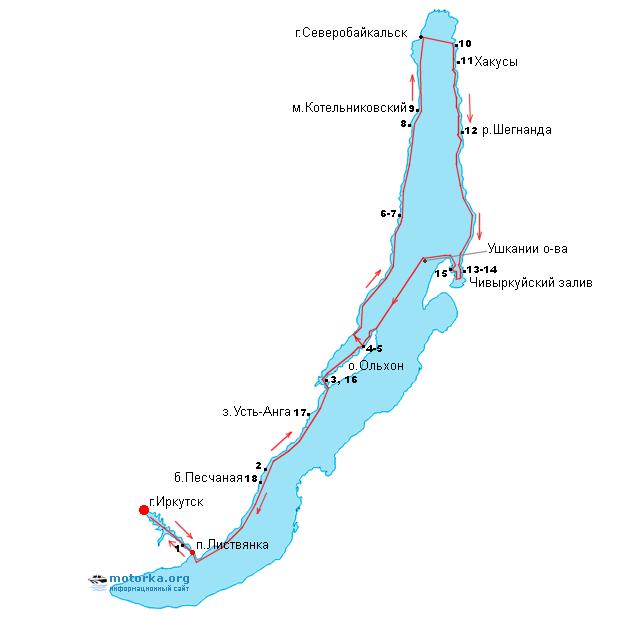Схема путешествия по Байкалу 2014